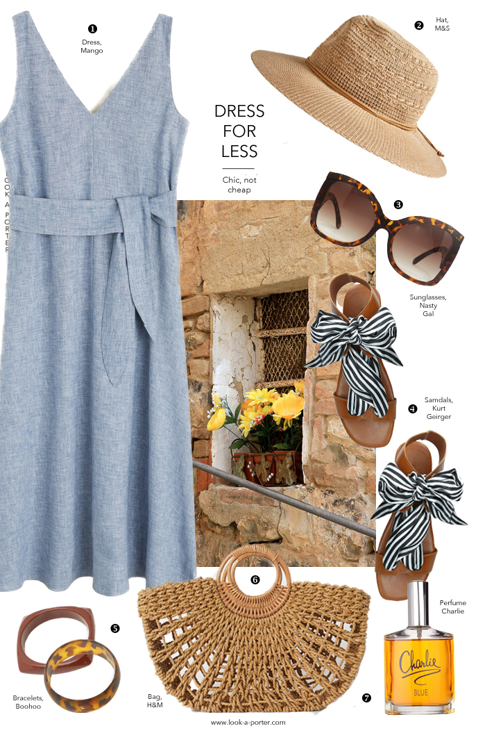 A real classic wardrobe essential, this linen blue dress can be dressed up and down with sandals, straw bag and fedora hat. www.look-a-porter.com fashion blog