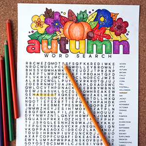 Autumn Coloring Word Search