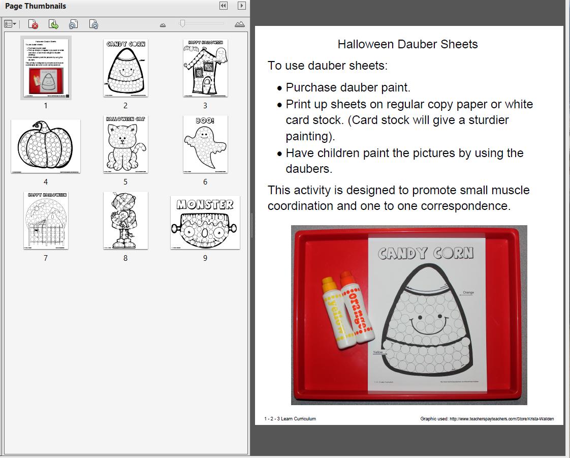 Halloween Paint Dauber Sheets