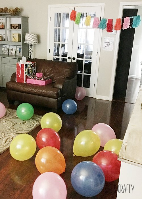 balloons on floor to walk through