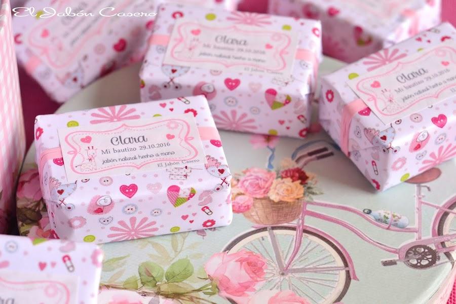Detalles de bautizo en rosa jabones personalizados el jabon casero
