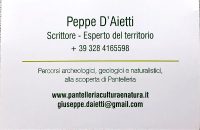 The business card of a tour guide Peppe D'Aietti.