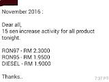 Senarai harga minyak mulai 01 November 2016