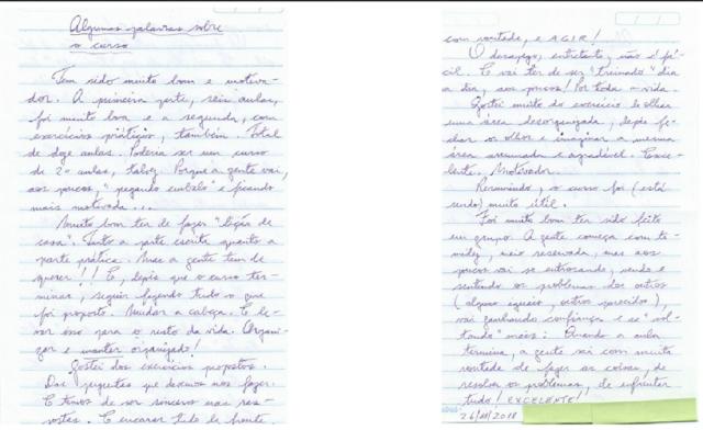 Carta de uma das clientes da Oficina