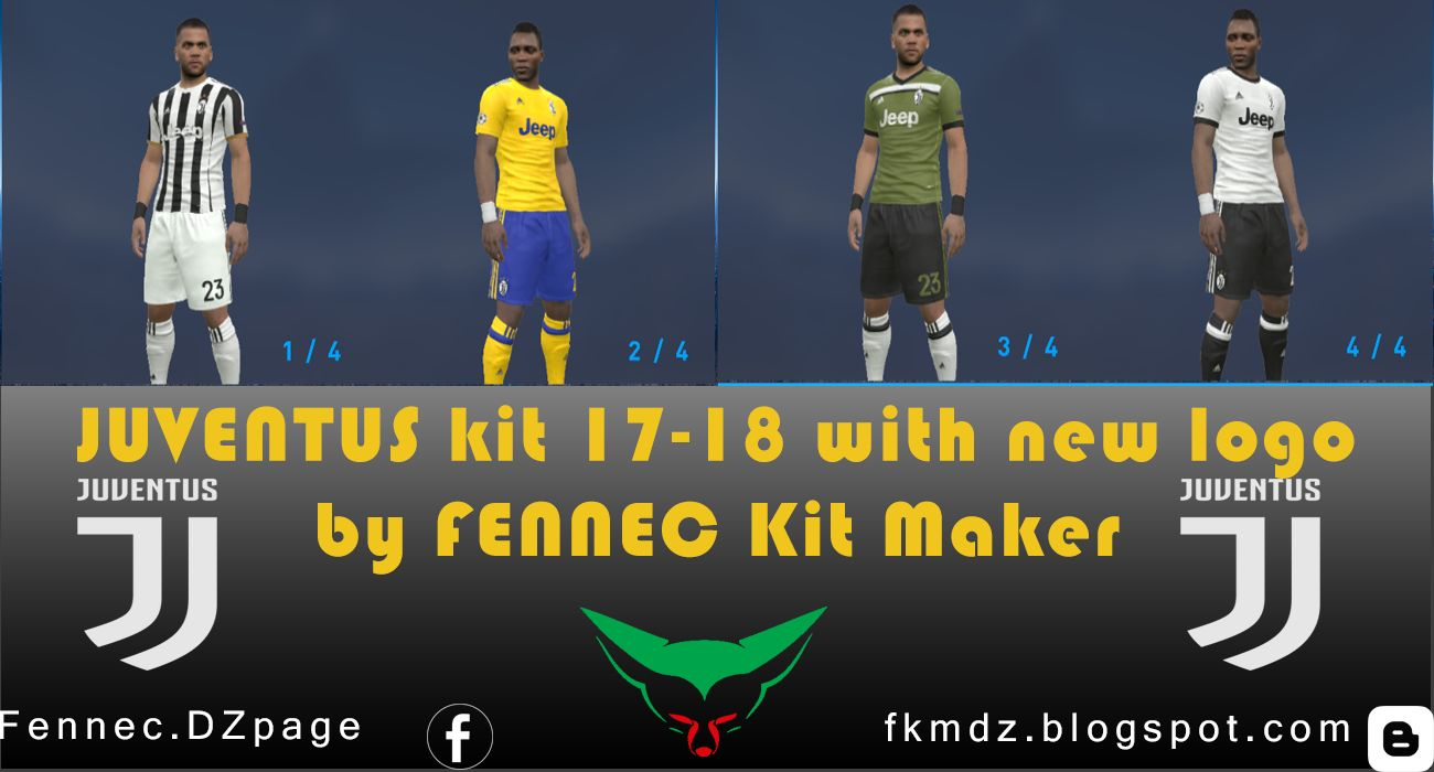 PES 2017 Juventus Kit 2017-18 With New Logo by FENNEC kit maker