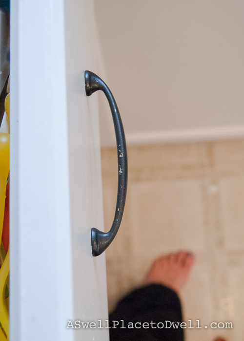 spray painted cabinet handles 6 months later