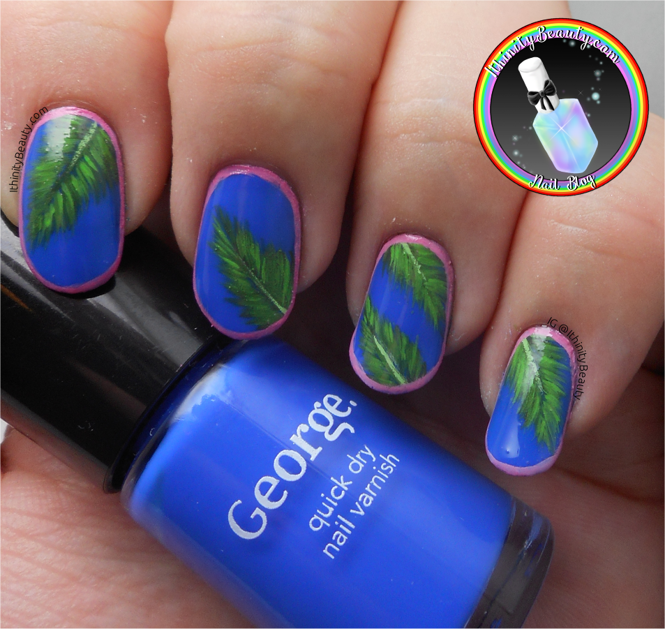 Navy Blue With Palm Leaves | IthinityBeauty.com Nail Art Blog