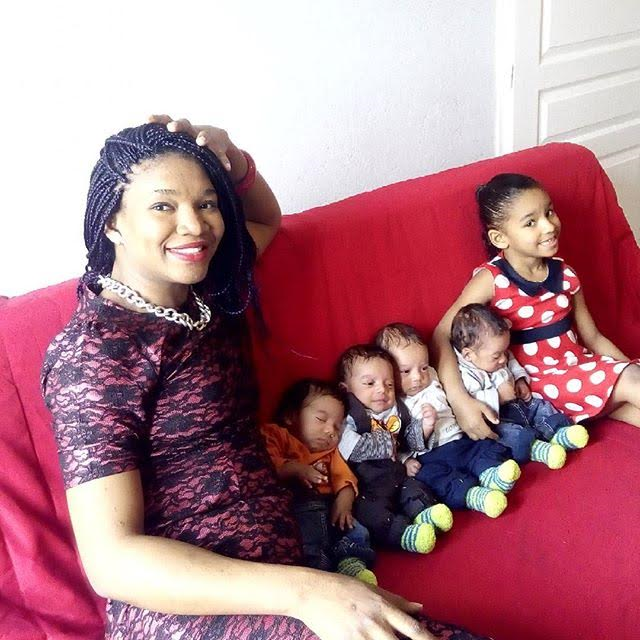 Photos of a Beautiful Nigerian mother, her adorable quadruplets and cute daughter