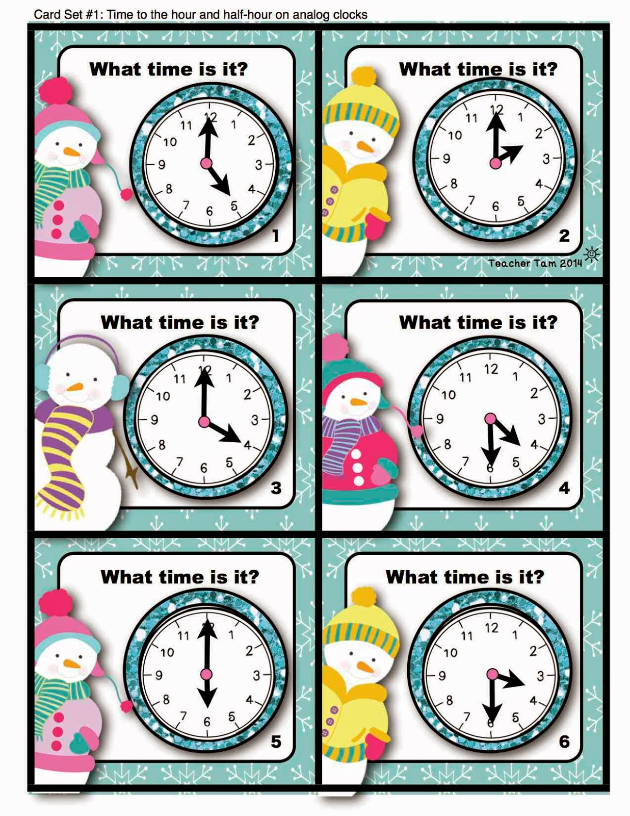 Teacher Tam S Educational Adventures Telling Time Task