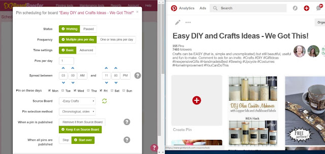 Boardbooster scheduling options to help your comply with group board rules on Pinterest.