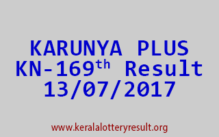 KARUNYA PLUS Lottery KN 169 Results 13-7-2017