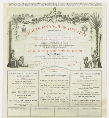 Share from the Société Financière d'Égypte with text in four languages