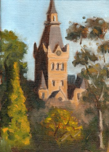 Oil painting of the Ormond College clock tower at the University of Melbourne, depicting a blue sky and various trees in the foreground.