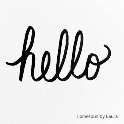 homespun by laura, daily doodle, hello, pen and ink, brush lettering
