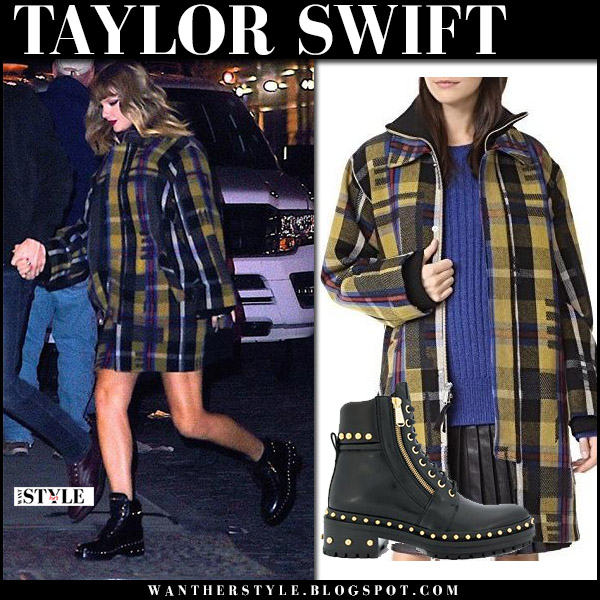 Taylor Swift in plaid wool coat public school elanor and black ankle army boots balmain with Joe Alwyn street fashion december 8