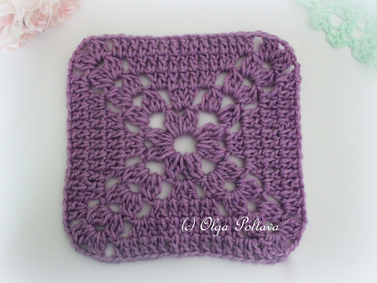 Crocheting Squares : Lacy Crochet: Simple Crochet Square, Free Pattern