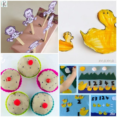 nursery rhymes activiites to teach kids counting in preschool, kindergarten