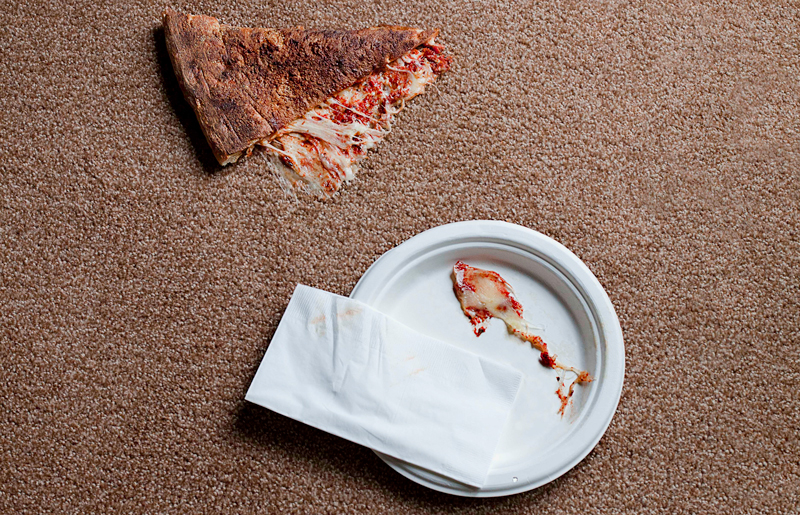 Dropped pizza can really stain a carpet if you aren't careful!