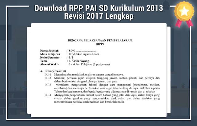 RPP PAI SD Kurikulum 2013 Revisi 2017 Lengkap