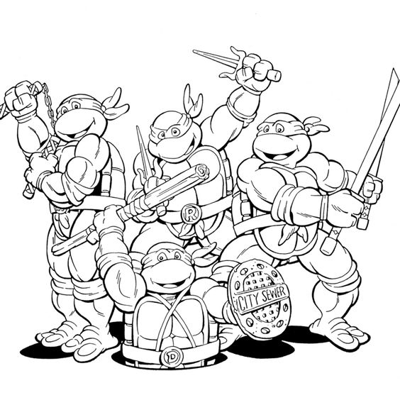 Tranh tô màu Ninja rùa 03