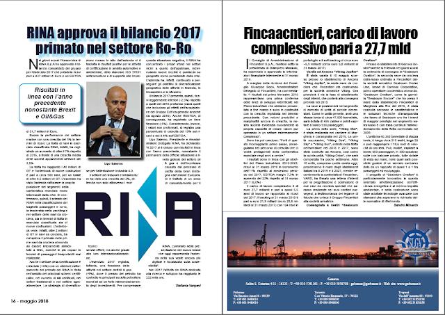 MAGGIO 2018 PAG 16 - RINA approva il bilancio 2017 primato nel settore Ro-Ro