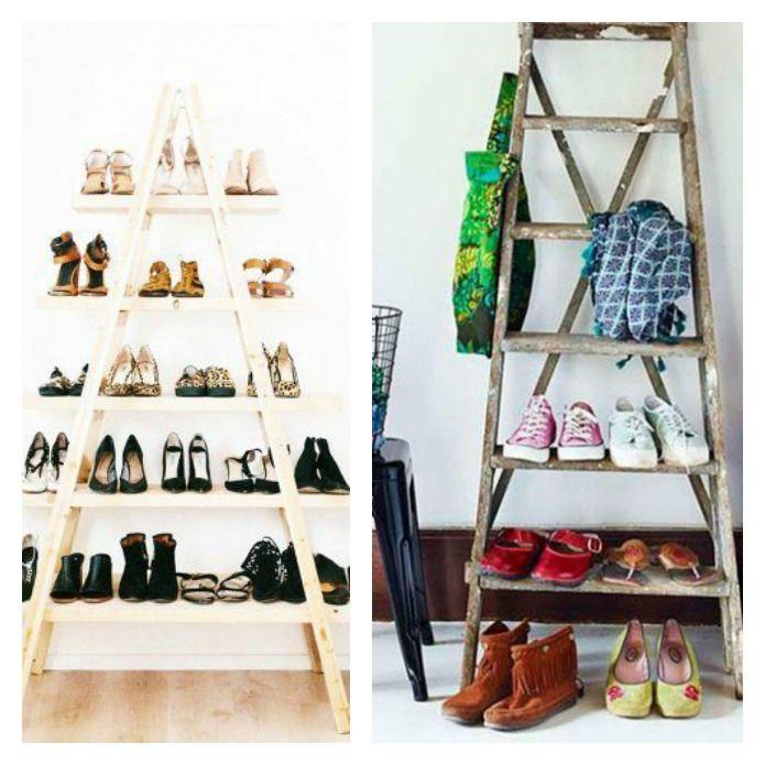 escaleras de madera para almacenar zapatos