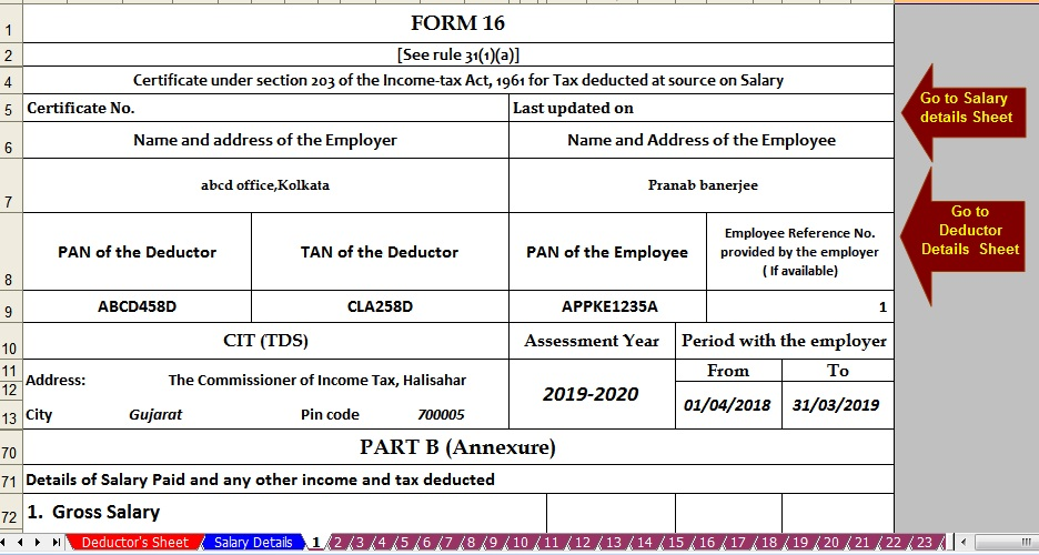 Download Automated Master of Form 16 Part B for F Y  2018-19 With