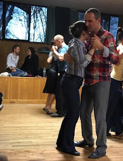 The author following in striped shirt and jeans: partner (male) in checked shirt and chinos. Friend (male, behind) also in striped shirt and jeans.