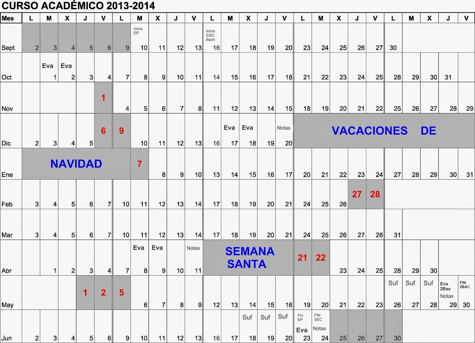 Calendario Escolar 2013/2014 ~ CDP San Antonio de Padua