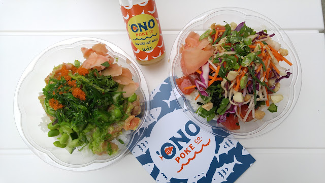 two 'ono poke bowls on the patio table - the G.G and the 'Ono Poke with Chili Water