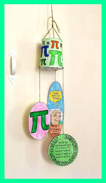 image of a Pi Day mobile craft with pi and Albert Einstein