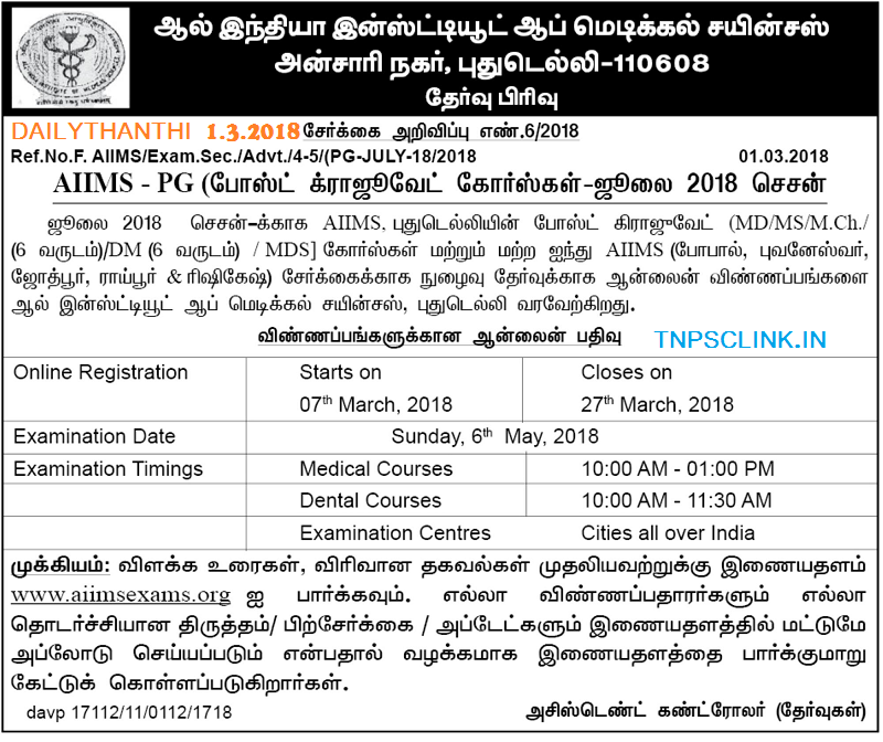 AIIMS PG Admission Notification 2018