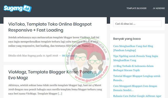 Blogger Mas Sugeng atau sugeng.id dengan Templatenya