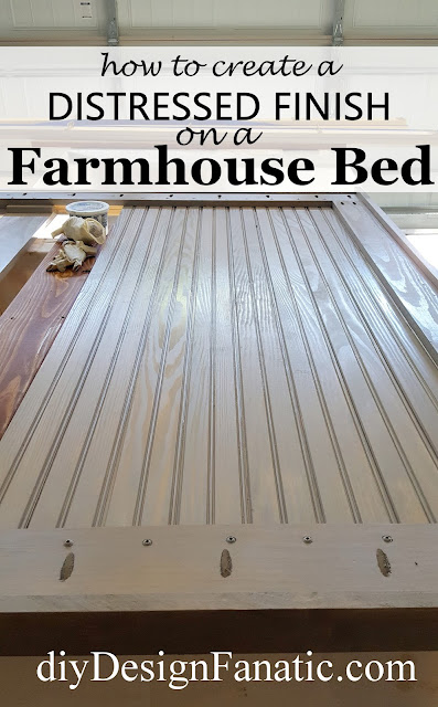 Farmhouse bed, distressed headboard, distressed finish, Farmhouse style, cottage style