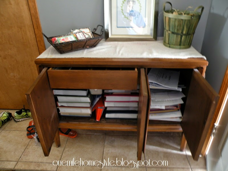Entry console - photo album storage