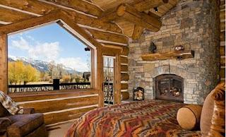 Dormitorio paredes de piedra