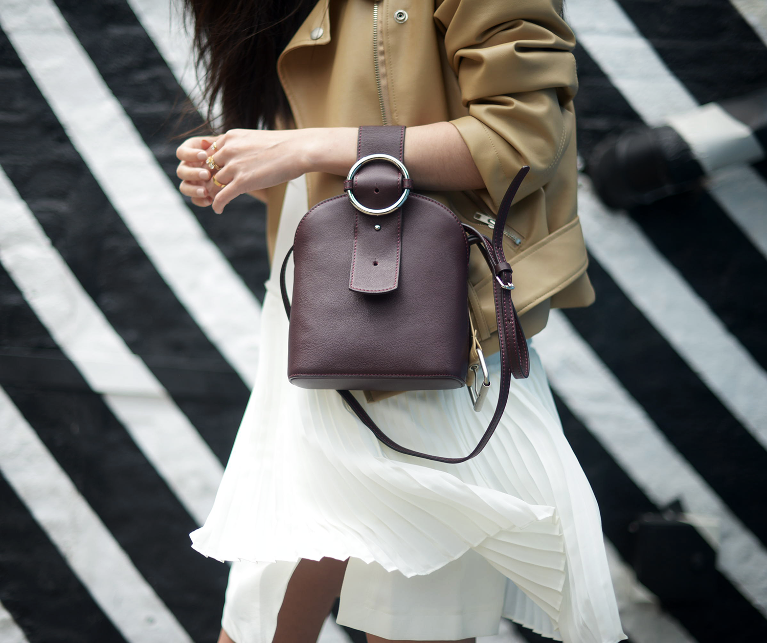 Camel Leather Jacket and Pleated Dress with Parisa Wang NYC Bag | FOREVERVANNY.com