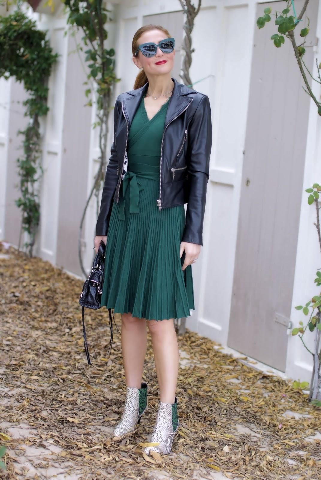 Metisu wrap neckline dress and python boots on Fashion and Cookies fashion blog, fashion blogger style