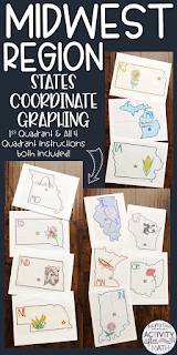 Midwest Region States Coordinate Graphing Mystery Picture BUNDLE
