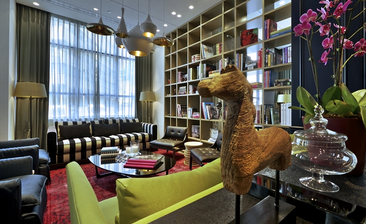 Colorful furniture in Hotel Indigo in Tel Aviv