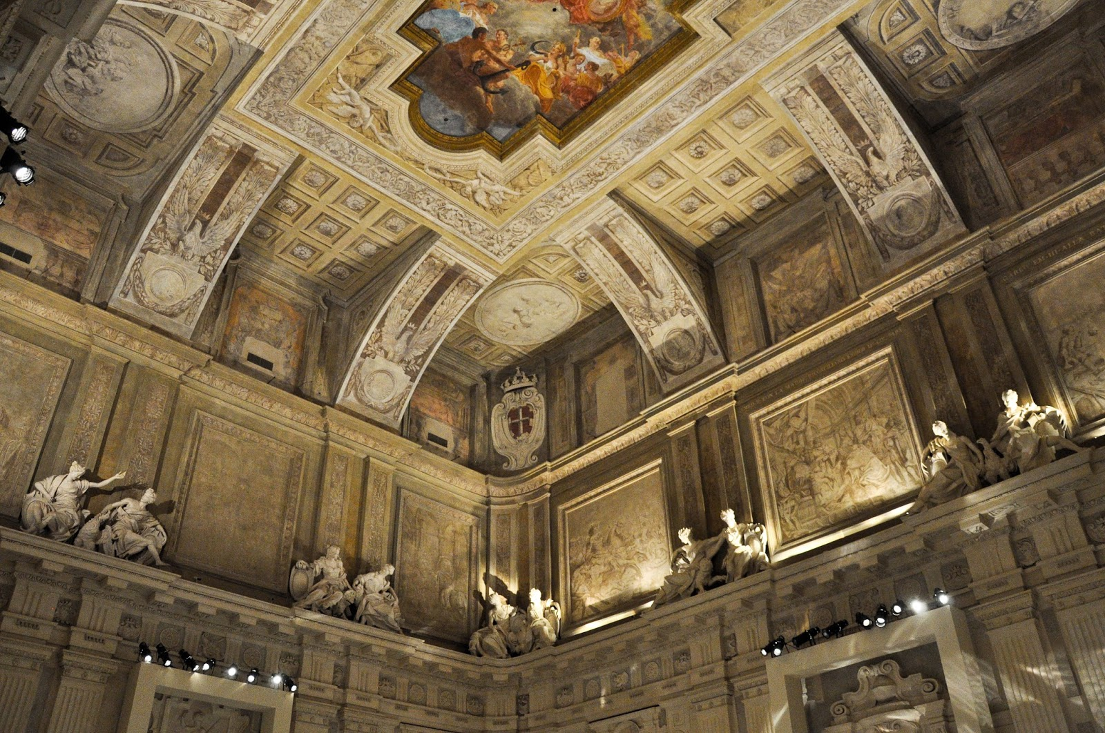 The ceiling in the ball room, First floor, Palazzo Madama, Turin, Italy
