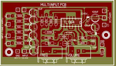 PCB Layout Mixer audio Pencampur input dari berbagai sumber sinyal audio