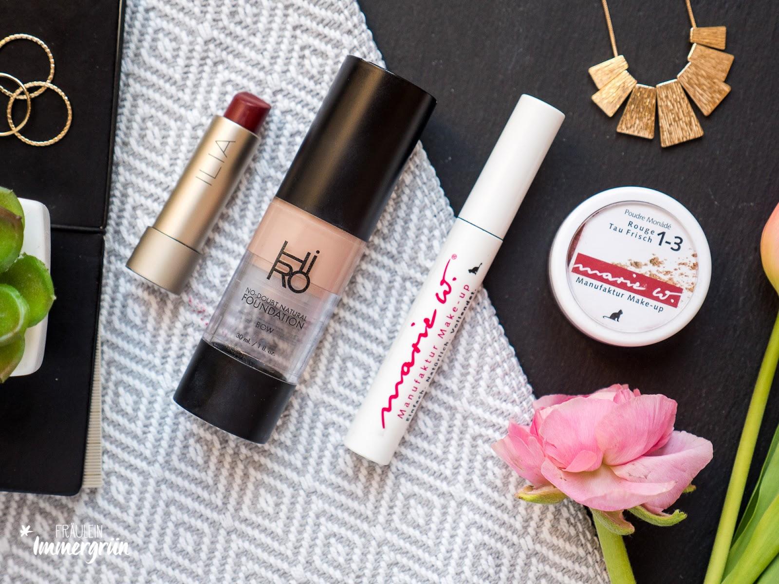 Hiro Cosmetics No Doubt Foundation, Ilia Lipstick Lucys Party, Marie W. Mascara Rabenschwarz, marie W. Mineral Rouge Taufrisch