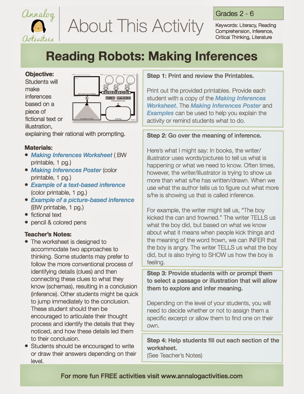 Annalog Activities: This Week's Freebie: Making Inferences with the Reading  Robots [ 1600 x 1236 Pixel ]