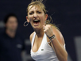 Her reactions after winning the match against her opponent
