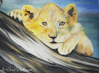 Lion Cub Oil Painting