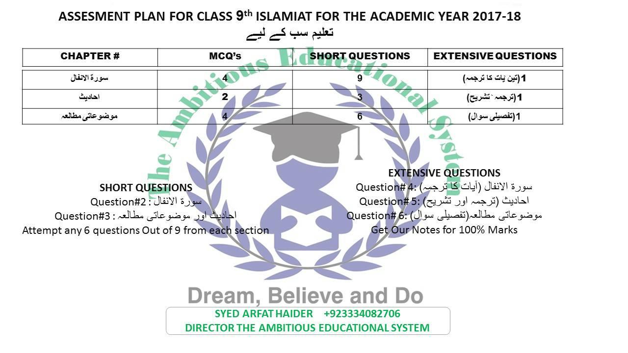9th class Islamiat Pairing scheme 2018 - Combintaion