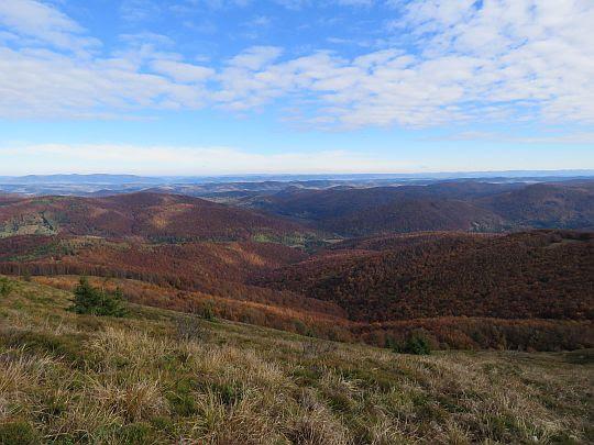 Panorama północno-zachodnia z Połoniny Caryńskiej.