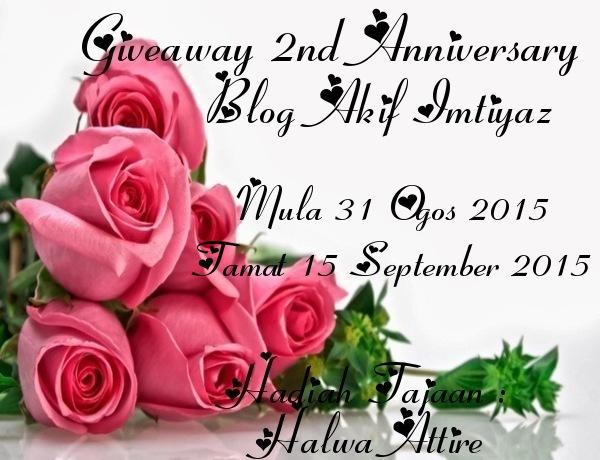 Senarai Peserta Giveaway 2nd Anniversary Blog Akif Imtiyaz