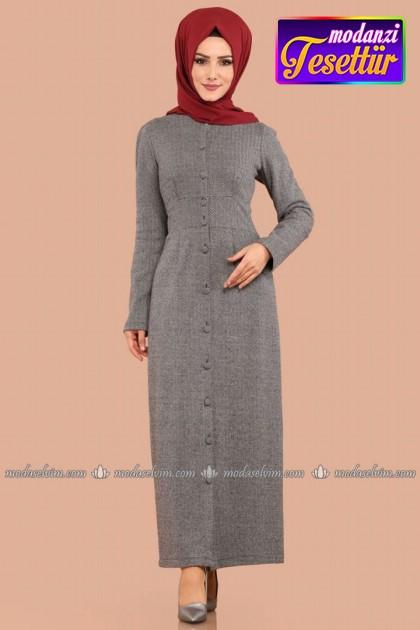 3319842d08355 Balıksırtı Desen Düğmeli Elbise MDB8547 Gri - Modaselvim Elbise Modelleri  2019 Kış